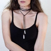 Bohemian Crystal Black Long Wrap Choker • Rose Quartz Necklace • Boho Jewelry • Ethically made in our USA loft • L|415 & Co Fashion Jewelry