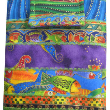Nook or Kindle Fire Sleeve in Laurel Burch Under the Sea Bright Fabrics