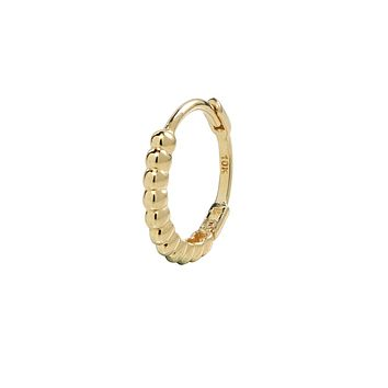 10k Solid Gold Thick Beaded Huggie