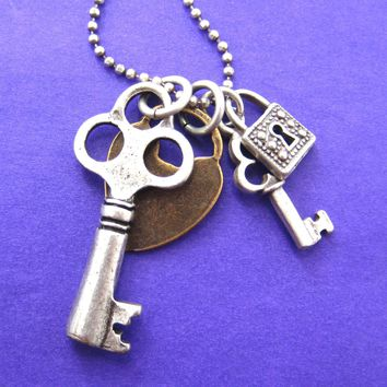 Lock and Skeleton Key Pendant Necklace in Silver and Brass | DOTOLY