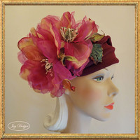 Handmade Burgundy Headwrap made of comfortable stretch fabric with gold and fuchsia magnolias Perfect for a Fall Boho Look
