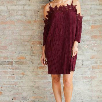 Valentia Off the Shoulder Dress - burgundy