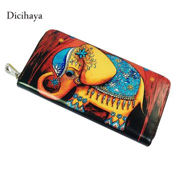 DICIHAYA New Genuine Leather Wallet Zipper Women wallets High Quality Long Design Purse Practical Cartoon elephant women bags