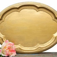 Antique Gold Style Serving Tray - Wedding Favors Program Cards Holder - Home Dorm Decor