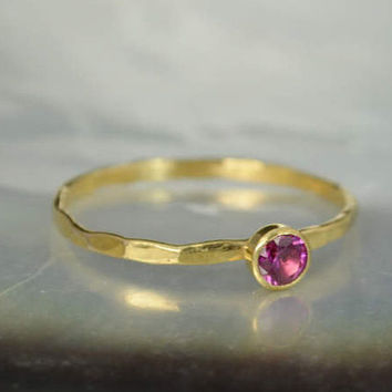 Dainty Solid 14k Gold Ruby Ring, 3mm gold solitaire, solitaire ring, real gold, July Birthstone, Mothers RIng, Solid gold band, gold