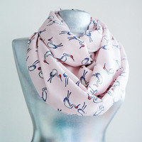 Handmade Flamingo Infinity Scarf - Summer Viscose Scarf - Soft Pink Dark Gray White