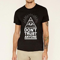 fashion hot sale brand clothing Dont Trust Anyone funny All Seeing Eyes tshirt homme men's hiphop streetwear fitness top t-shirt
