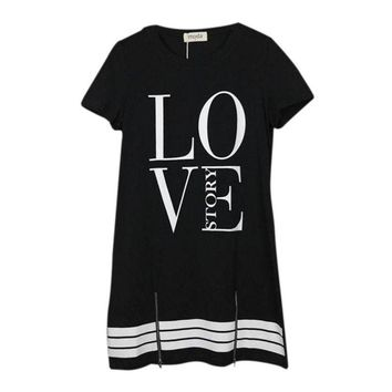 Arrival Fashion Womens Sexy LOVE  Printed Zipper T-shirt Dress For Casual Lady Girls S-2XL
