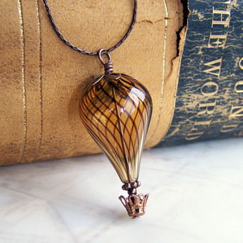 Hot Air Balloon Necklace - A Steampunk balloon in amber blown glass and copper - Hot Air Balloon Jewelry - Steampunk Necklace