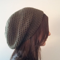 The Unity Hat - Olive Green Slouchy Beanie - Wool Crochet Tam Hat