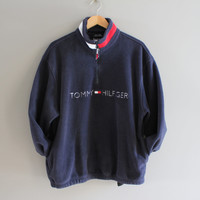 Tommy Hilfiger Sweatshirt Navy Blue Fleece Zip Up Tommy Pullover Baggy Slouchy Oversized Old School Sweatshirt Vintage 90s Size L