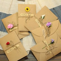 1pc DIY Kraft Paper Handmade Dry Flower Invitation Greeting Card with Envelope Christmas Wedding favors drop shipping