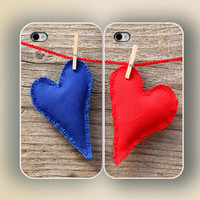unique iphone case, i phone 4 4s 5 case,cool cute iphone4 iphone4s  5 case,stylish plastic rubber  cover, a pair of blue red love heart 1012