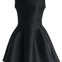 Glossy Open-back Flare Dress in Black Black