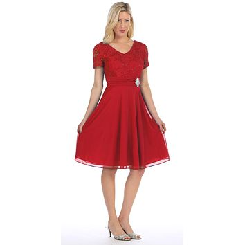 Celavie 6320 - Knee Length Red Dress With Short Sleeves Lace Bodice