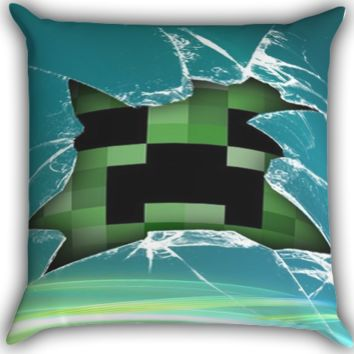 Minecraft Creeper Glass Broken A0100 Zippered Pillows  Covers 16x16, 18x18, 20x20 Inches