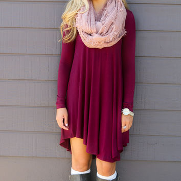 Follow Your Heart Wine V-Neck Long Sleeve Dress
