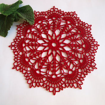 Red crochet doily Small lace doilies 8 inches diameter Little round crocheted doily Hand crochet doily for sale Set of Red table decor