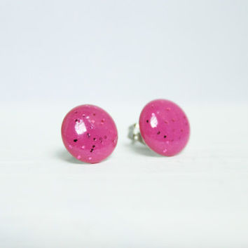 Hot Pink Glitter Earrings, Stud Earrings, Hypoallergenic Jewelry
