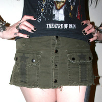 90s army military grunge skirt white zombie tattered pastel goth nu grunge industrial rivethead