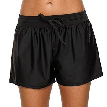 ATTRACO Womens Swim Boardshorts Ruched Sports Swimsuit Bottoms Solid