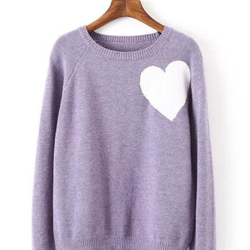 Heart Knit Cropped Sweater