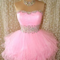 Cute Pink Mini Organza Prom Dress / Homecoming Dress