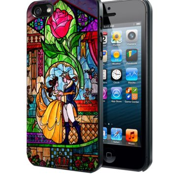 Beauty and The Beast Stained Glass Samsung Galaxy S3 S4 S5 Note 3 , iPhone 4 5 5c 6 Plus , iPod 4 5 case