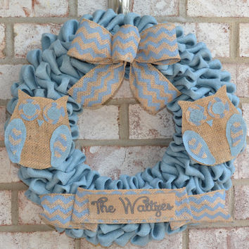 Burlap Wreath with Matching Owls and Last Name, Burlap Owls, Personalized Wreath, Blue Wreath, Summer Wreath, Burlap Name, Owl Wreath