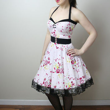 floral retro rockabilly Yvonne swing dress custom - handmade to order - smarmyclothes