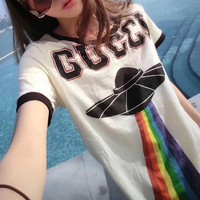 """Gucci"" Women Casual Fashion Multicolor Rainbow UFO Letter Print Embroidery Dragon Short Sleeve T-shirt Top Tee"