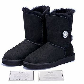 DCCKUN7 Ready Stock Black Sheepskin Wool-one Ugg Tall Boots With Diamond Button From Artemisoutlet