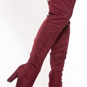 Burgundy Faux Suede Chunky Thigh High Boots @ Cicihot Boots Catalog:women's winter boots,leather thigh high boots,black platform knee high boots,over the knee boots,Go Go boots,cowgirl boots,gladiator boots,womens dress boots,skirt boots.