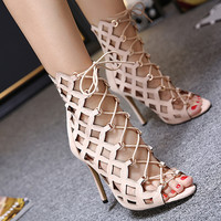 Sexy Sandals Brand Designer High Heels Sexy Open Toe Cut Outs Women Shoes