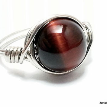 Red Tiger Eye Ring, Silver Wire Wrap Ring, Silver Wrapped Gemstone Ring, Red Stone Ring, Boho Hippie Ring, Chakra Dark Red Metaphysical Ring