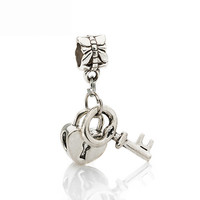 Free 1Pc Silver Bead Charm European Silver with Love Lock key Charm Pendant Bead Fit Pandora Bracelet