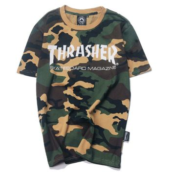 THRASHER Fashion camouflage casual monogram print casual tee tops