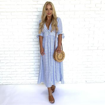 Blue & White Button Up Stripe Midi Dress