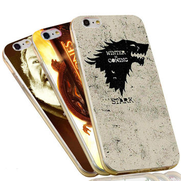 Jon Snow Stark Wolf  Winter is Comming The Game of Thrones Case For iPhone 4 4S 5C 5 5S SE 6 6S 7 Plus Soft TPU Phone Cover