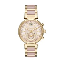 Michael Kors Sawyer Yellow Gold-Toned and Blush Stainless Steel Ladies Watch