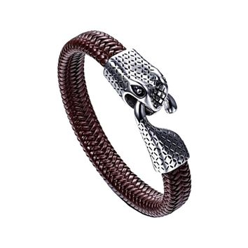 Ouroboros 'Eternity Snake' Leather and Stainless Steel Bracelet