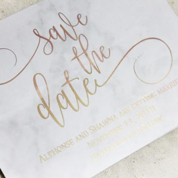 Foil Save the Date Cards Set of 20, Metallic Foil Cards, Marble Save the date Cards