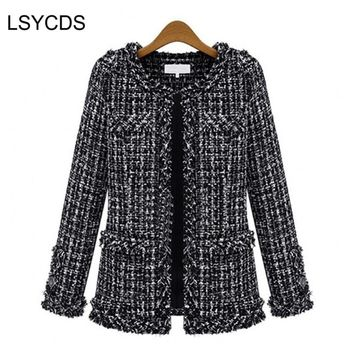Women Basic Coats Fashion Elegant Vintage Tweed Winter Casual Formal Woolen Overcoat Coat Winter Jacket Women