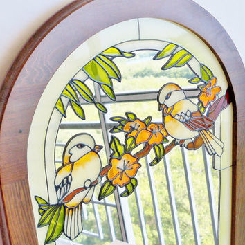 Beautiful Birds Painted Wall Mirror Wood Frame