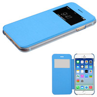 Book-Style View-Flip Silk Texture Hybrid TPU iPhone 6 Case - Sky Blue