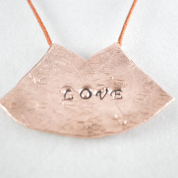Copper Pendant, Love Pendant, Love Copper Pendant, Inspirational Jewelry, Copper Jewelry, Unisex Jewelry, Copper Necklace, Silk Cord