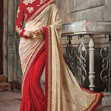 Red and Cream Net Embroidered Saree