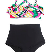 Multi Color Top and Black High Waist Waisted Shorts Bottom Female Swimsuit Bikini Twp-piece Two piece Swimwear Swim dress Bathing suit S M L