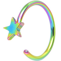 """20 Gauge 5/16"""" Rainbow IP Stainless Steel Evening Star Nose Hoop 