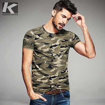 Men's T-shirt men's military printed jacket men's wear round collar clothes
